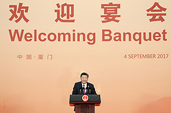 (170904) -- XIAMEN, Sept. 4, 2017 (Xinhua) -- Chinese President Xi Jinping addresses a banquet for those attending the ninth BRICS summit and the Dialogue of Emerging Market and Developing Countries in Xiamen, southeast China's Fujian Province, Sept. 4, 2017. (Xinhua/Xie Huanchi) (mcg) (Photo by Xinhua/Sipa USA)