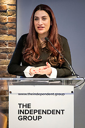 © Licensed to London News Pictures. 18/02/2019. London, UK. Former Labour MP Luciana Berger speaks at the launch of The Independent Group in Westminster, London. A group of seven former Labour MPs announced the formation the new political group, formed by breakaway Labour MPs who disagree with Labour Party action on Brexit and Antisemitism. Photo credit: Rob Pinney/LNP