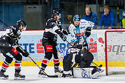 01.01.2019, Ice Rink, Znojmo, CZE, EBEL, HC Orli Znojmo vs EHC Liwest Black Wings Linz, 34. Runde, im Bild v.l. Allan McPherson (HC Orli Znojmo) Mikko Vainonen (HC Orli Znojmo) Teemu Tapio Lassila (HC Orli Znojmo) Daniel Woger (EHC Liwest Black Wings Linz) // during the Erste Bank Eishockey League 34th round match between HC Orli Znojmo and EHC Liwest Black Wings Linz at the Ice Rink in Znojmo, Czechia on 2019/01/01. EXPA Pictures © 2019, PhotoCredit: EXPA/ Rostislav Pfeffer