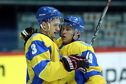 20.04.2016, Dom Sportova, Zagreb, CRO, IIHF WM, Ukraine vs Estland, Division I, Gruppe B, im Bild Yevgen Tymchenko, Dmytro Chernyshenko. // during the 2016 IIHF Ice Hockey World Championship, Division I, Group B, match between Ukraine and Estonia at the Dom Sportova in Zagreb, Croatia on 2016/04/20. EXPA Pictures © 2016, PhotoCredit: EXPA/ Pixsell/ Goran Stanzl<br /> <br /> *****ATTENTION - for AUT, SLO, SUI, SWE, ITA, FRA only*****