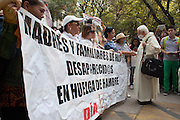"""Mothers of disappeared people from states of Coahuila, Nuevo León, Chihuahua, Guanajuato, Veracruz, Querétaro, Jalisco, Estado de México and Mexico City made the """"Second March of Dignity"""" on May 10th, 2013, Mothers Day, to the Angel de la Independencia demanding results on the investigations. Human Rights Watch reported on February 2013 that, in 149 from 250 documented cases, state agents were involved during the administration of ex-president Felipe Calderón. New Enrique Peña Nieto's administration announced actions, with still no results. .PICTURED: Bishop Raúl Vera from the Archdiocese of Saltillo, Coahuila, meets with mothers in hunger strike. (Photo: Prometeo Lucero)"""