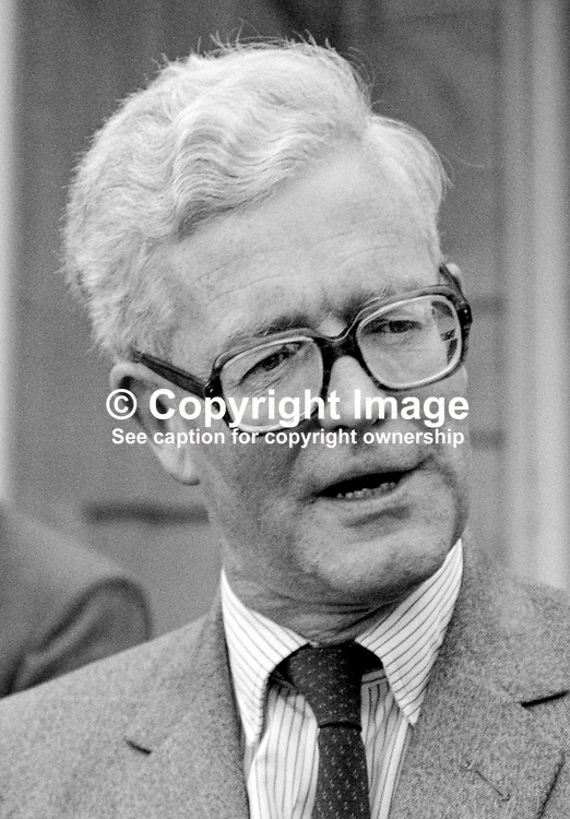 Secretary of State for N Ireland, Douglas Hurd, being interviewed by local journalists following press conference at Stormont Castle, Belfast, N Ireland. 19850413DH8.<br /> <br /> Copyright Image from Victor Patterson, Belfast, UK<br /> <br /> t: +44 28 9066 1296 (from Rep of Ireland 048 9066 1296)<br /> m: +44 7802 353836<br /> e: victorpattersonbelfast@gmail.com<br /> <br /> www.images4media.com<br /> <br /> Please see my full Terms and Conditions of Use at https://www.images4media.com/p/terms-conditions - it is IMPORTANT that you familiarise yourself with them.<br /> <br /> Images used online incur an additional cost. This cost should be agreed in writing in advance. Online images must be visibly watermarked i.e. © Victor Patterson or that of the named photographer within the body of the image. The original metadata must not be deleted from images used online.<br /> <br /> This image is only available for the use of the download recipient i.e. television station, newspaper, magazine, book publisher, etc, and must not be passed on to a third party. It is also downloaded on condition that each and every usage is notified within 7 days to victorpattersonbelfast@gmail.com.<br /> <br /> The right of Victor Patterson (or the named photographer) to be identified as the author is asserted in accordance with The Copyright Designs And Patents Act (1988). All moral rights are asserted.