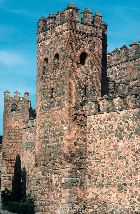 SPAIN, TOLEDO City walls surrounding Toledo with towers and battlements built during the Visigothic  and Moorish periods