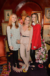 Left to right, ELINOR FRESSON, ALICE NAYLOR-LEYLAND and BEA FRESSON at a party to celebrate Alice Naylor-Leyland's Collaboration with French Sole held at Annabel's, 44 Berkeley Square, London on February 2nd 2016