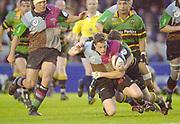 Twickenham, Surrey. England, UK.,02.05.2003, Mel DEAND, taken to ground,,  Zurich Premiership Rugby match, Harlequins v Northampton Saints, played at the Stoop Memorial Ground, [Mandatory Credit:Peter Spurrier/ Intersport Images]