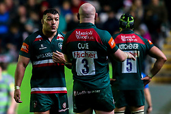 Ellis Genge of Leicester Tigers takes to Dan Cole of Leicester Tigers - Mandatory by-line: Robbie Stephenson/JMP - 27/04/2018 - RUGBY - Welford Road Stadium - Leicester, England - Leicester Tigers v Newcastle Falcons - Aviva Premiership