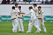 Wicket - Jamie Overton of Somerset celebrates taking the wicket of Mark Stoneman of Surrey during the opening day of the Specsavers County Champ Div 1 match between Somerset County Cricket Club and Surrey County Cricket Club at the Cooper Associates County Ground, Taunton, United Kingdom on 18 September 2018.