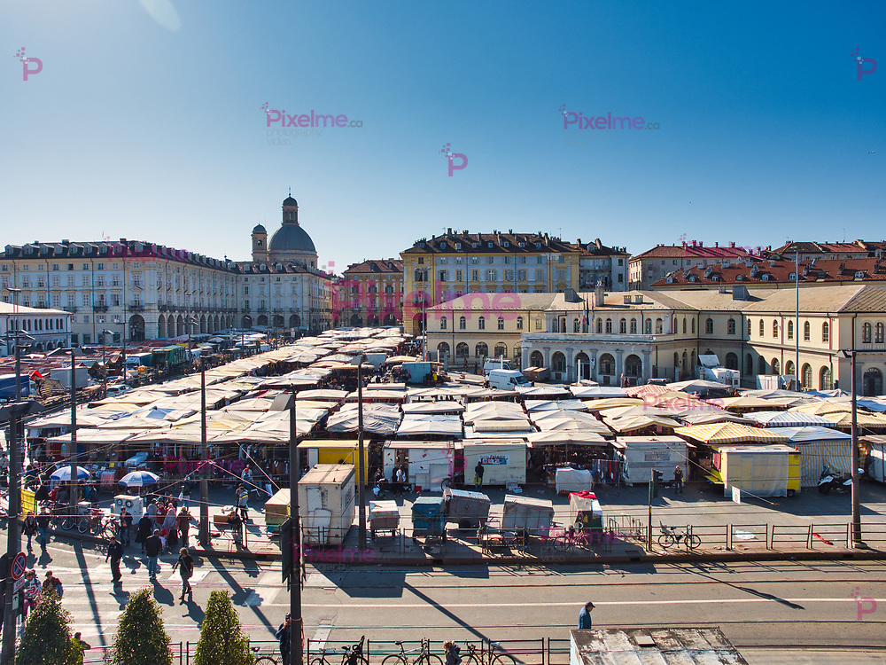 Elevated view of the open-air market of Porta Palazzo de Turin