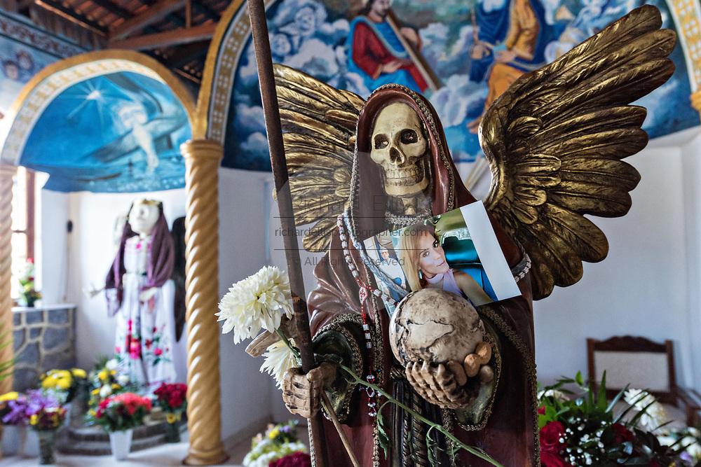 Interior of the chapel at the La Casa De La Santa Muerte or House of the Saint of the Dead November 1, 2017 in Santa Ana Chapitiro, Michoacan, Mexico.