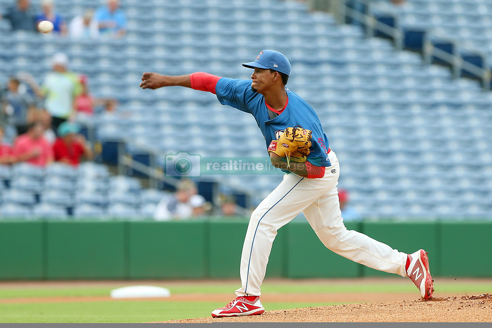 July 17, 2018 - Clearwater, FL, U.S. - TAMPA, FL - JULY 17: Felix Paulino (37) of the Threshers delivers a pitch to the plate during the Florida State League game between the Daytona Tortugas and the Clearwater Threshers on July 17, 2018, at Spectrum Field in Clearwater, FL. (Photo by Cliff Welch/Icon Sportswire) (Credit Image: © Cliff Welch/Icon SMI via ZUMA Press)