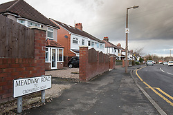© Licensed to London News Pictures . 17/01/2015 . Stockport , UK . GV of Meadway Road , Cheadle Hulme as police investigate after a woman and a man - named as magistrate Yvonne Davies and her husband Andrew - were found dead inside their home at 28 Meadway Road  after an apparent murder-suicide last night (16th January 2015) .  Photo credit : Joel Goodman/LNP
