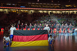 Players of Germany during handball match between National Teams of Slovenia and Germany in 2018 Men's World Championship Qualifications, on May 3, 2017 in SRC Stozice, Ljubljana, Slovenia. Photo by Morgan Kristan / Sportida