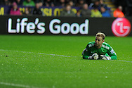 Manchester city goalkeeper Joe Hart looks on.  Barclays Premier league, Swansea city v Manchester City at the Liberty Stadium in Swansea,  South Wales on  New years day Wed 1st Jan 2014 <br /> pic by Andrew Orchard, Andrew Orchard sports photography.