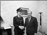 First Female Garda Superintendent.   (R97)..1989..21.02.1989..02.21.1989..21st February 1989..Ms Phyllis Nolan the first female Garda to reach the rank of Superintendent paid a courtesy call to An Taoiseach, Charles Haughey TD, at his office today. She was accompanied by the Garda Commissioner, Mr Eugene Crowley...Garda Superintendent Phyllis Nolan from Ballon, Co Carlow is pictured arriving at the office of An Taoiseach, Charles Haughey TD.She is the first female Garda to attain the rank of Superintendent.