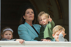 Princess Caroline of Hanover, Stefano Ercole Carlo Casiraghi, Francesco Carlo Albert Casiraghi, India Casiraghi are attending the military procession held in the Palace Square, during the National Day ceremonies, Monaco Ville (Principality of Monaco), on november 19th, 2019. Photo by Marco Piovanotto/ABACAPRESS.COM