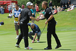 © Licensed to London News Pictures. 01/07/2017. London, UK, Wales team mates actor Rob Brydon and former footballer Craig Bellamy during The 2017 Celebrity Cup golf tournament at the Celtic Manor Resort, Newport, South Wales. Photo credit: Jeff Thomas/LNP