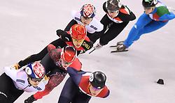 PYEONGCHANG, Feb. 17, 2018  Li Jinyu of China (3rd L)competes during ladies' 1500m final of short track speed skating at 2018 PyeongChang Winter Olympic Games at Gangneung Ice Arena, Gangneung, South Korea, Feb.17, 2018. Li Jinyu claimed second place in a time of 2:25.703. (Credit Image: © Wang Haofei/Xinhua via ZUMA Wire)