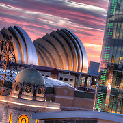 AMC Mainstreet Theater in the foreground from an elevated view with the Kauffman Center for the Performing Arts in the background, Kansas City, Missouri.