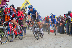 Dylan van Baarle (NED) of Team Sky (GBR,WT,Pinarello) during the 2019 Paris-Roubaix (1.UWT) with 257 km racing from Compiègne to Roubaix, France. 14th April 2019. Picture: Thomas van Bracht | Peloton Photos<br /> <br /> All photos usage must carry mandatory copyright credit (Peloton Photos | Thomas van Bracht)