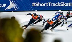 Daan Breeuwsma, Itzhak de Laat in action on the 5000 meter relay during ISU World Cup Finals Shorttrack 2020 on February 15, 2020 in Optisport Sportboulevard Dordrecht.