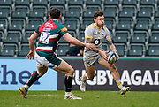 Wasps Full-back Matteo Minozzi sets to chip the ball forward during a Gallagher Premiership Round 10 Rugby Union match, Friday, Feb. 20, 2021, in Leicester, United Kingdom. (Steve Flynn/Image of Sport)