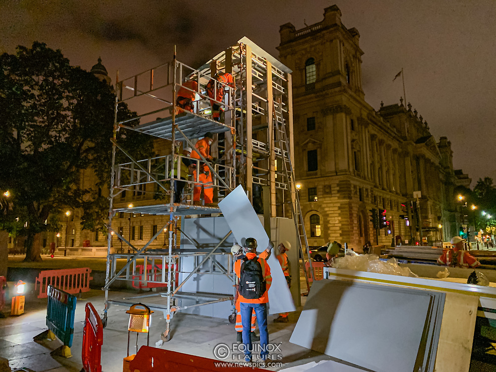 London, United Kingdom - 12 June 2020<br /> Winston Churchill statue being covered in protective scaffolding and sheet metal following Black Lives Matter protests, Parliament Square, London, England, UK.<br /> (photo by: EQUINOXFEATURES.COM)<br /> Picture Data:<br /> Photographer: Equinox Features<br /> Copyright: ©2020 Equinox Licensing Ltd. +443700 780000<br /> Contact: Equinox Features<br /> Date Taken: 20200612<br /> Time Taken: 004504<br /> www.newspics.com