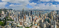 Aerial view of Hong Kong cityscape during the day.