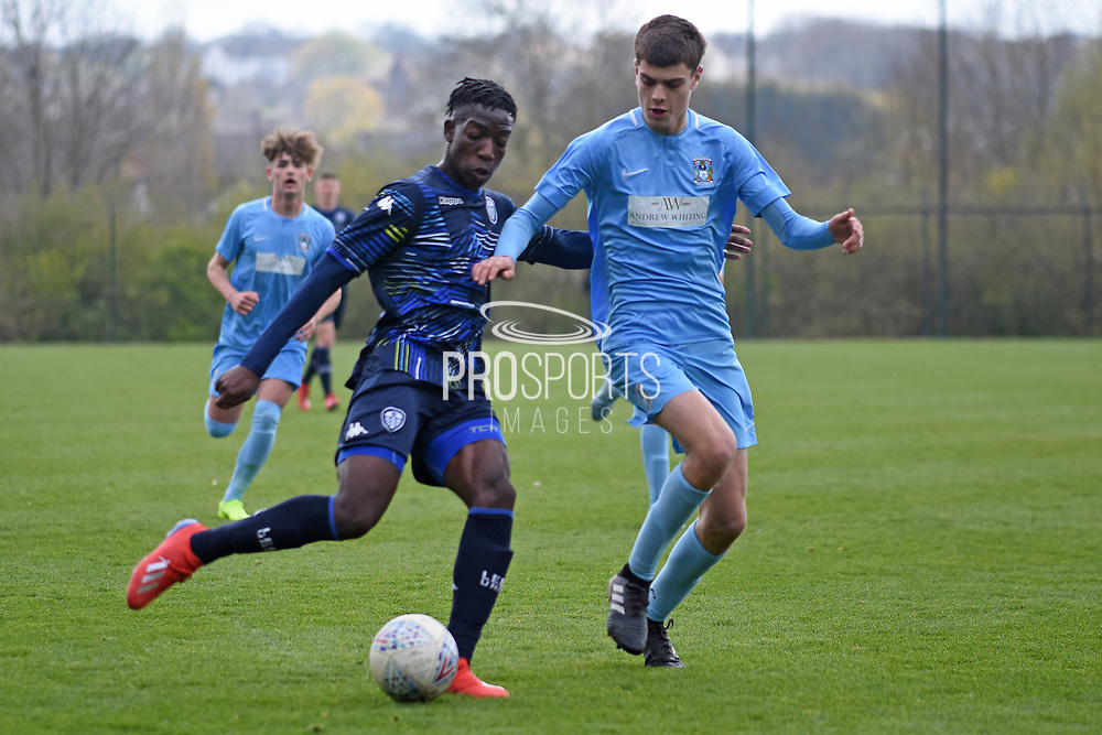 Leeds United forward Henri Kumwenda on the attack during the U18 Professional Development League match between Coventry City and Leeds United at Alan Higgins Centre, Coventry, United Kingdom on 13 April 2019.