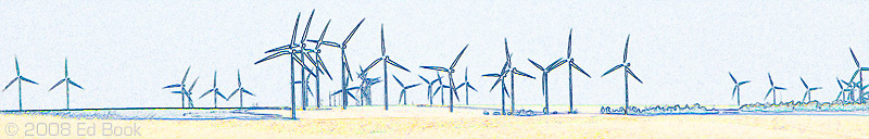 Electric power windmills waiting for the wind in eastern Washington, USA