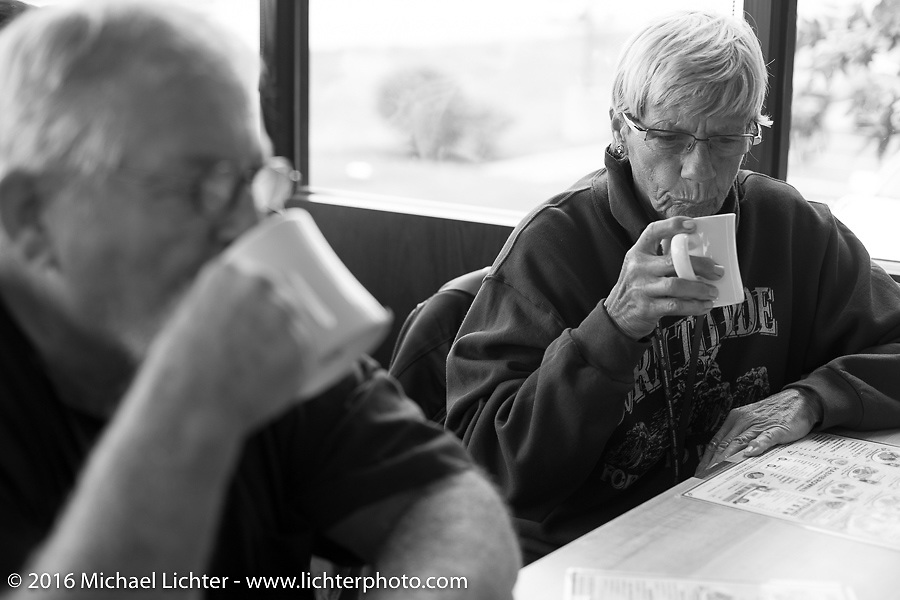 Dottie Mattern and Ron Roberts at a Waffle House lunch stop during Stage 7 of the Motorcycle Cannonball Cross-Country Endurance Run, which on this day ran from Sedalia, MO to Junction City, KS., USA. Thursday, September 11, 2014.  Photography ©2014 Michael Lichter.