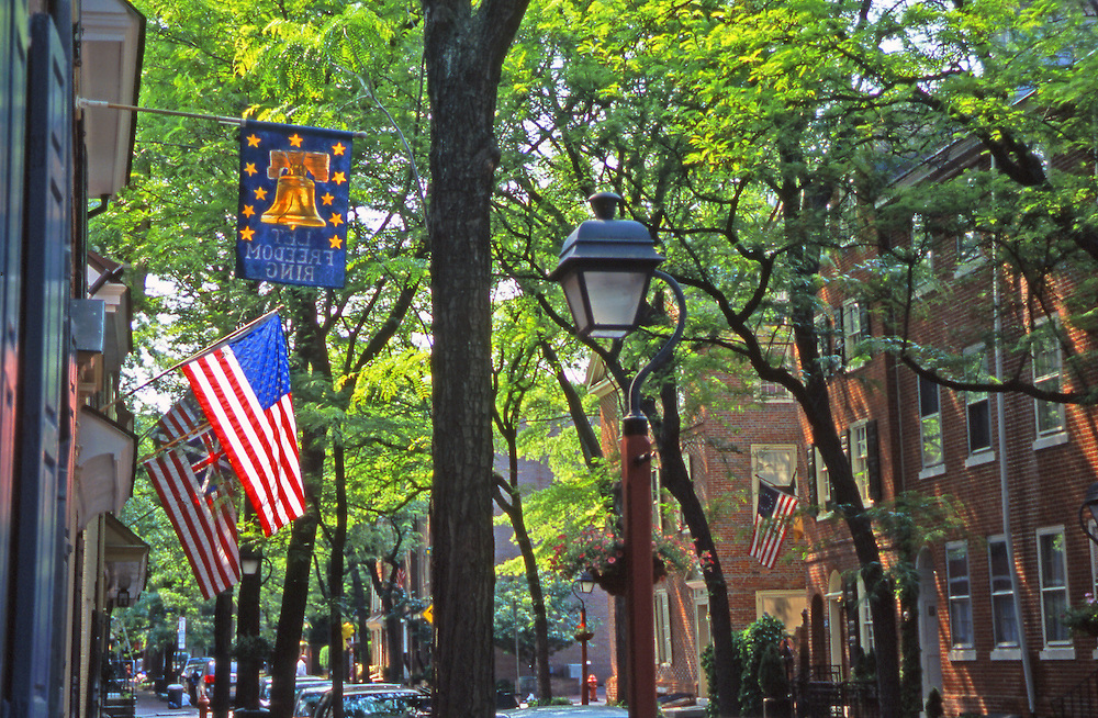 Historic Society Hill, American flag displayed, Lamp, Trees, Philadelphia, PA