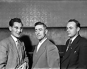 14/01/1953<br /> 01/14/1953<br /> 14 January 1953<br /> Corinthians Boxing Club, Dublin. Picture shows (l-r):  Joe Connelly, Honorary Secretary Corinthians Boxing Club, Co. Dublin Board; T. Kelty, father of Paddy Kelty, 62 Downpatrick Road, Crumlin and P. Purcell.