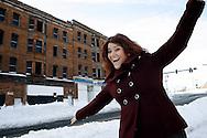 Kevin Bartram | Staff<br /> New Britain mayor Erin Stewart visits the Berkowitz Building on Main Street on Wednesday.