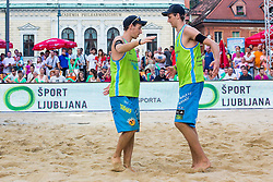 Jan Pokersnik and Nejc Zemjlak at Beach Volleyball Challenge Ljubljana 2014, on August 2, 2014 in Kongresni trg, Ljubljana, Slovenia. Photo by Matic Klansek Velej / Sportida.com