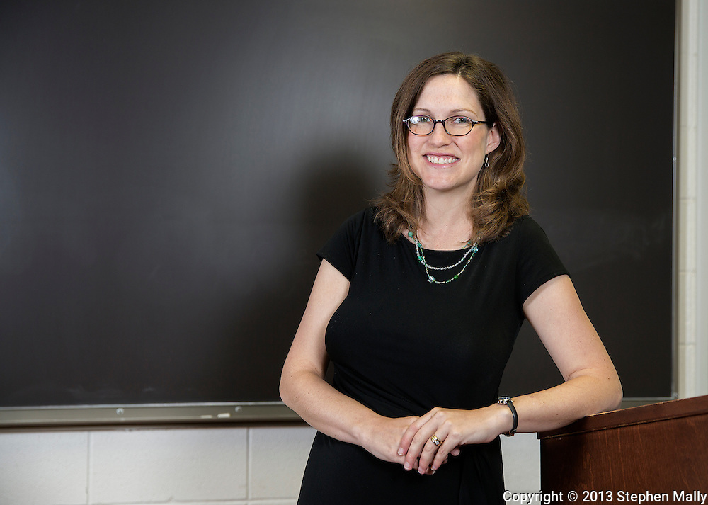 """Dr. Elesha Coffman, Assistant Professor of Church History and author of """"The Christian Century and the Rise of the Protestant Mainline"""" in her classroom in Blades Hall on the campus of the University of Dubuque Theological Seminary in Dubuque, Iowa on Wednesday, June 12, 2013."""