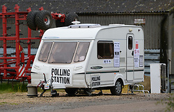 A caravan which is being used as a polling station on Grange Farm in Garthorpe, Leicestershire, as voters head to the polls across the UK to vote in the general Election.