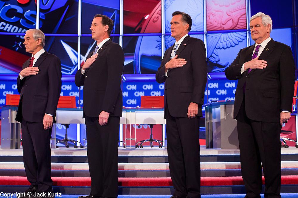"22 FEBRUARY 2012 - MESA, AZ:    Congressman RON PAUL (left) Senator RICK SANTORUM, Governor MITT ROMNEY and Congressman NEWT GINGRICH at the Arizona Republican Presidential Debate in the Mesa Arts Center in Mesa, AZ, Wednesday. It is the last debate before the Michigan and Arizona Republican primaries on Feb. 28 and ""Super Tuesday"" on March 6.        PHOTO BY JACK KURTZ"