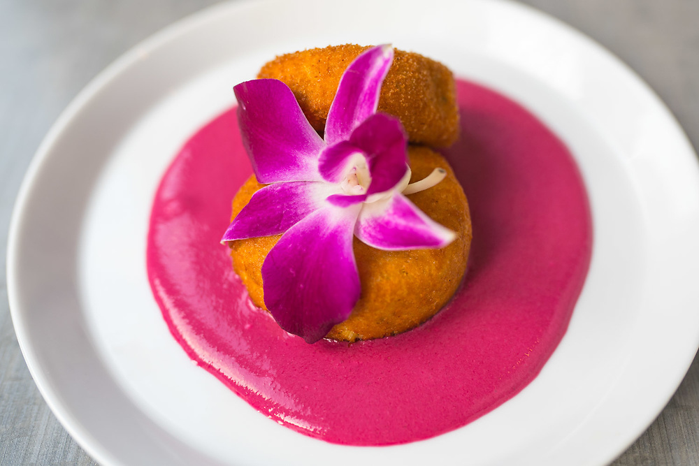 NEW YORK, NY - August 29, 2015: Yoghurt kebab (comes with hibiscus on hot-pink sauce), served at Babu Ji, a restaurant on the Lower East Side of Manhattan. CREDIT: Emon Hassan for The New York Time
