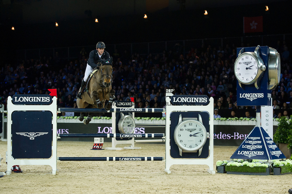Billy Twomey on Diaghilev competes during Longines Grand Prix at the Longines Masters of Hong Kong on 21 February 2016 at the Asia World Expo in Hong Kong, China. Photo by Juan Manuel Serrano / Power Sport Images