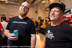 Kevin Dunworth and Kim Boyle at the pre-party for the Handbuilt Motorcycle Show at Revival Cycles. Austin, TX. April 9, 2015.  Photography ©2015 Michael Lichter.