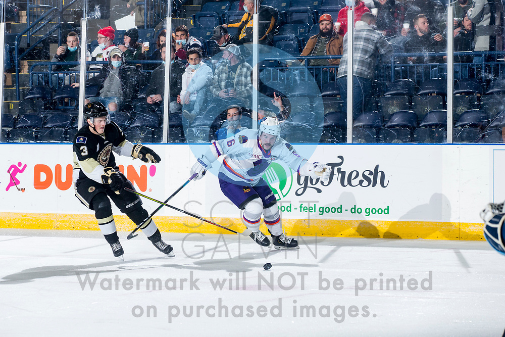 Youngstown Phantoms defeat the Muskegon Lumberjacks 4-3 in overtime at the Covelli Centre on December 5, 2020.<br /> <br /> Cade Lemmer, forward, 6