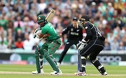 Bangladesh's Shakib Al Hasan is caught out by New Zealand's Tom Latham during the ICC Cricket World Cup group stage match at The Oval, London.