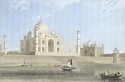machine colorized (AI) The Taje Mah'l [The Taj Mahal] at Agra From the book ' The Oriental annual, or, Scenes in India ' by the Rev. Hobart Caunter Published by Edward Bull, London 1834 engravings from drawings by William Daniell