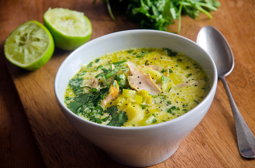 Freshly made curried chicken and coconut soup