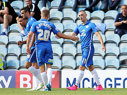Marcus Maddison (right) of Peterborough United celebrates scoring his first goal - Mandatory byline: Joe Dent/JMP - 07966386802 - 15/08/2015 - FOOTBALL - ABAX Stadium -Peterborough,England - Peterborough United v Colchester United - Sky Bet League One