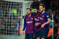 Luis Suarez celebrates a goal scored with Rakitic and Messi during the Spanish league football match of 'La Liga'  FC BARCELONA against RAYO VALLECANO at Camp Nou Stadium of Barcelona on March 9,2019