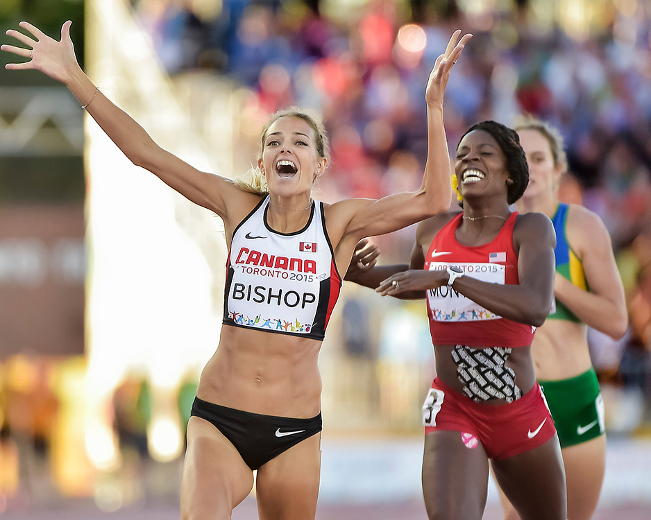 TORONTO, ON - JULY 22: Melissa Bishop of Canada beats Alysia Montano of the United States across the finish line to win the women's 800 meter final during Day 12 of the Toronto 2015 Pan Am Games on July 22, 2015 in Toronto, Canada.<br /> <br /> PHOTO: Steve Kingsman / Steve Kingsman Photography