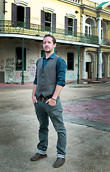 17 October 2013. Abandoned Six Flags, New Orleans, Louisiana. <br /> Terry McDermott and the Bonfires. <br /> Richard Hyland.<br /> Photo; Charlie Varley