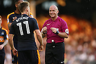 Referee Simon Hooper trying to calm down Matt Ritchie of Newcastle United. Skybet EFL championship match, Fulham v Newcastle Utd at Craven Cottage in Fulham, London on Friday 5th August 2016.<br /> pic by John Patrick Fletcher, Andrew Orchard sports photography.