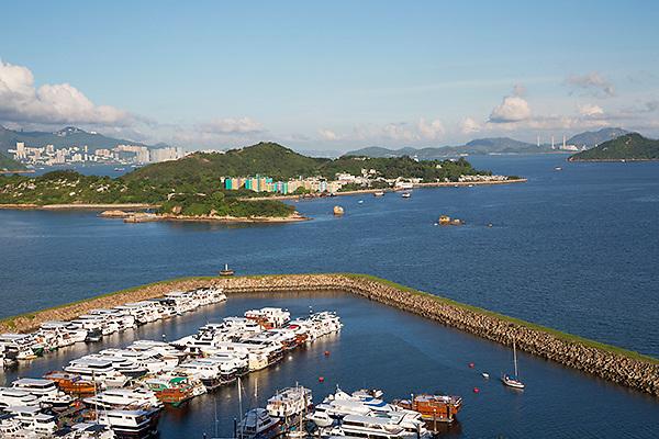 Peng Chau with Discovery Bay Marina (foreground), Hong Kong